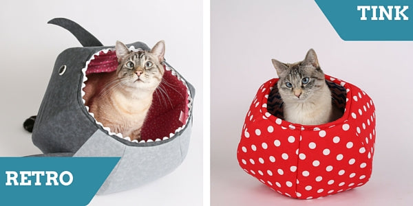 Retro and Tink are cat models for the Cat Ball cat bed