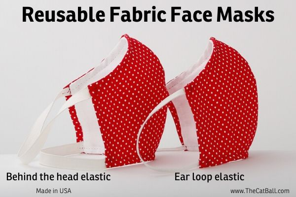 Washable and reusable fabric face mask with a pocket for additional filter, made in USA