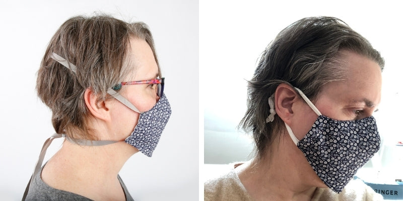 How we altered a face mask with an adjustable headband into a face mask with adjustable ear loops, using scrap cotton knit fabric