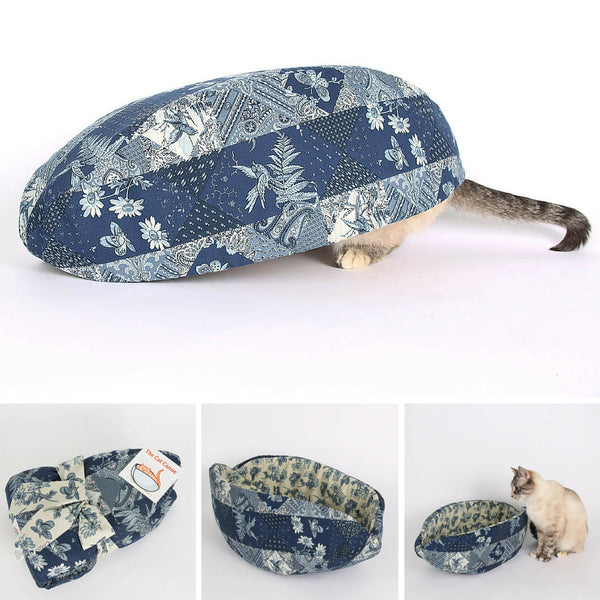 Cat Canoe modern cat bed made in blue and ivory calico patchwork fabric
