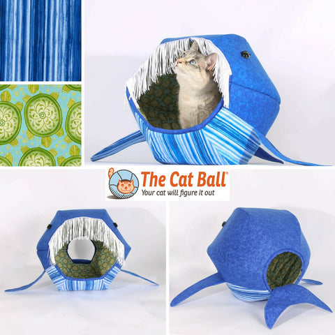 The whale Cat Ball cat bed made with watercolor stripes
