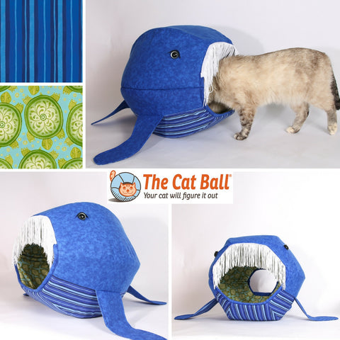 The whale Cat Ball pet bed made with bold color stripes