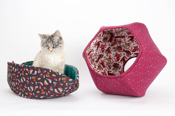 Coordinating Cat Canoe and Cat Ball cat bed made in cute fabrics by Clothworks