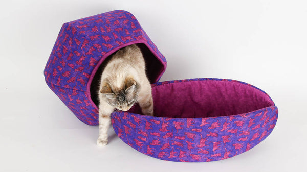Coordinating Cat Ball and Cat Canoe made in bright purple and pink cat fabrics