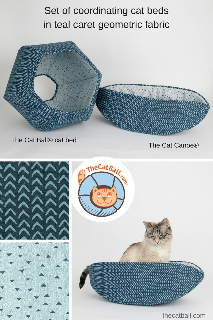 Coordinating Cat Ball cat bed and Cat Canoe cat beds made in coordinating teal caret geometric fabrics