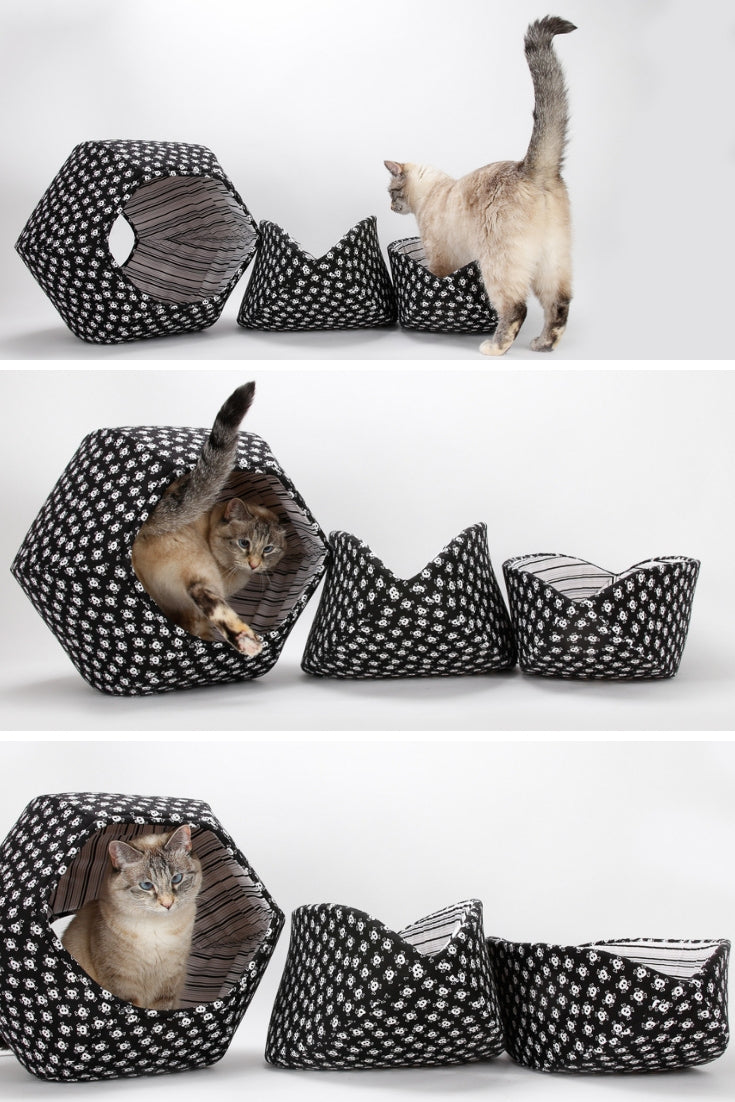 Cat beds made in skull and crossbones fabrics for pirate pets