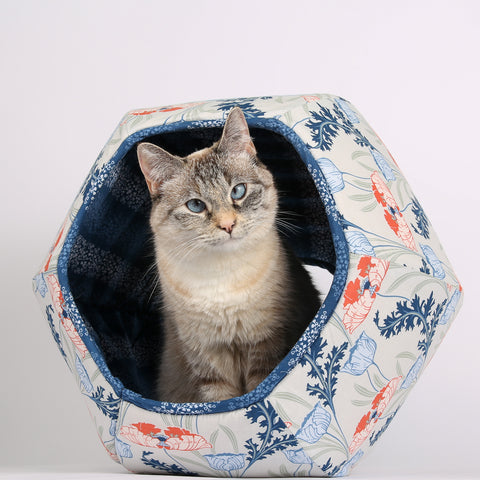 Cat Ball cat bed Art Nouveau Flowers in Coral, Navy, Blue and Grey