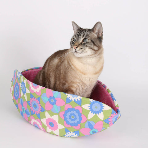 The Cat Canoe nest style modern pet bed in pastel and pink flower fabric