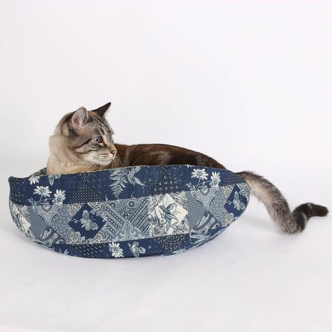 The Cat Canoe a Modern Cat Bed in Navy Blue and Ivory Butterfly Cotton Calico Fabric