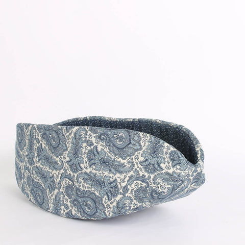 The ivory and blue paisley Cat Canoe coordinates with other cat beds made with fabrics from the same collection