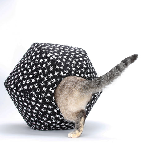 The Cat Ball cat bed in skull and crossbones fabric