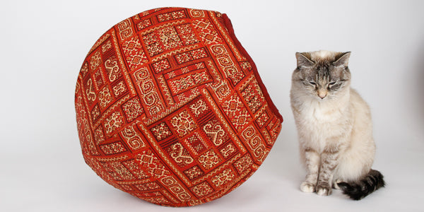 Cat Ball bed made in exotic red and gold kilim print by Hoffman fabrics