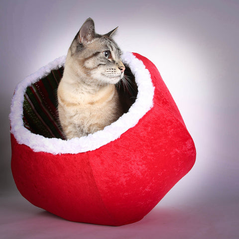 The Christmas Cat Ball cat bed in red velvet with fur