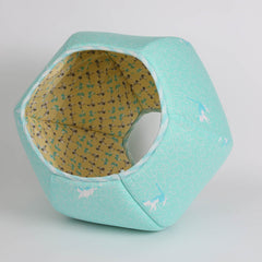the CAT BALL cat bed in aqua kittens fabric
