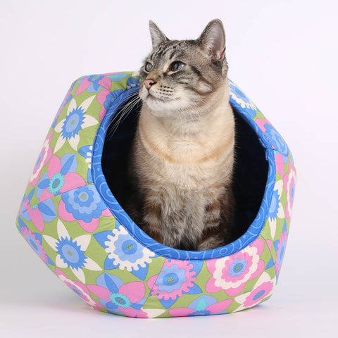 The Cat Ball modern cat bed in pink flower fabric