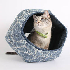 The Cat Ball Cat Bed in Ivory Blue Paisley