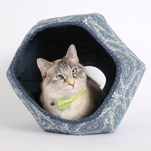 The Cat Ball in Ivory and Blue Paisley Fabric a Modern Hexagonal Cat Bed