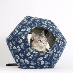 The Cat Ball Cat Bed in Blue and Ivory Butterflies