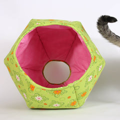 Cat Ball Cat Bed in Bright Green with Pink Lining