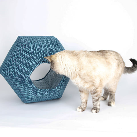 The Cat Ball cat bed made in teal caret geometric print