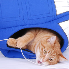 Pacer in the Tardis contraption cat bed made by The Cat Ball