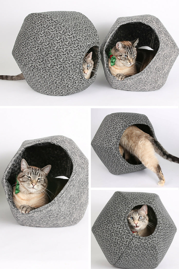 These Cat Ball cat beds are made in cotton fabrics inspired by Victorian prints creating modern cat beds with a gothic look