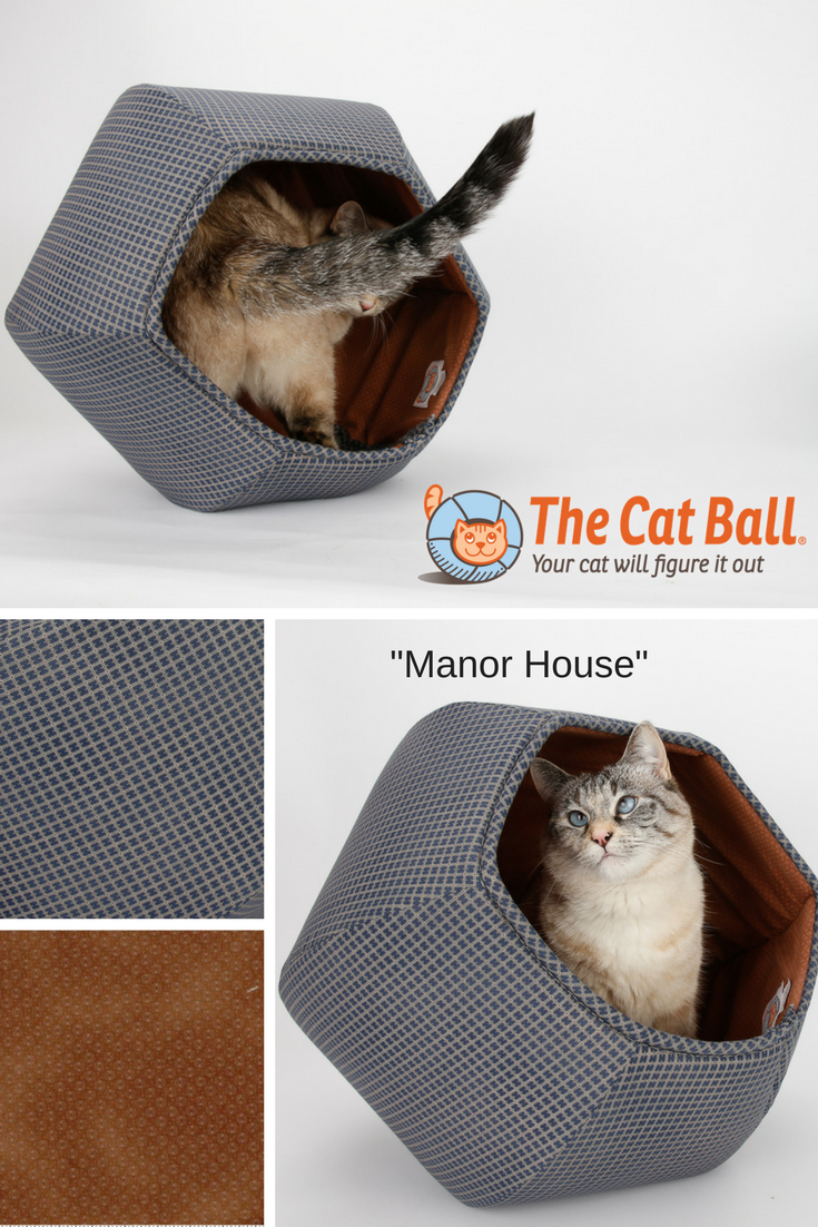 Navy Blue and Brown Manor House Cat Ball Cat Bed