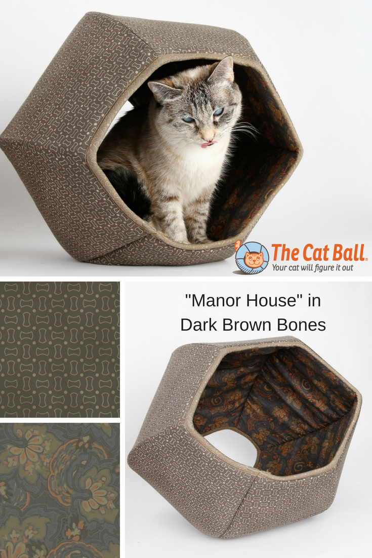 Manor House Cat Ball Cat Bed in Dark Brown Bones Print