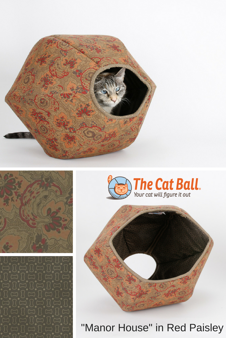 Red and Brown Paisley Manor House Cat Ball Cat Bed