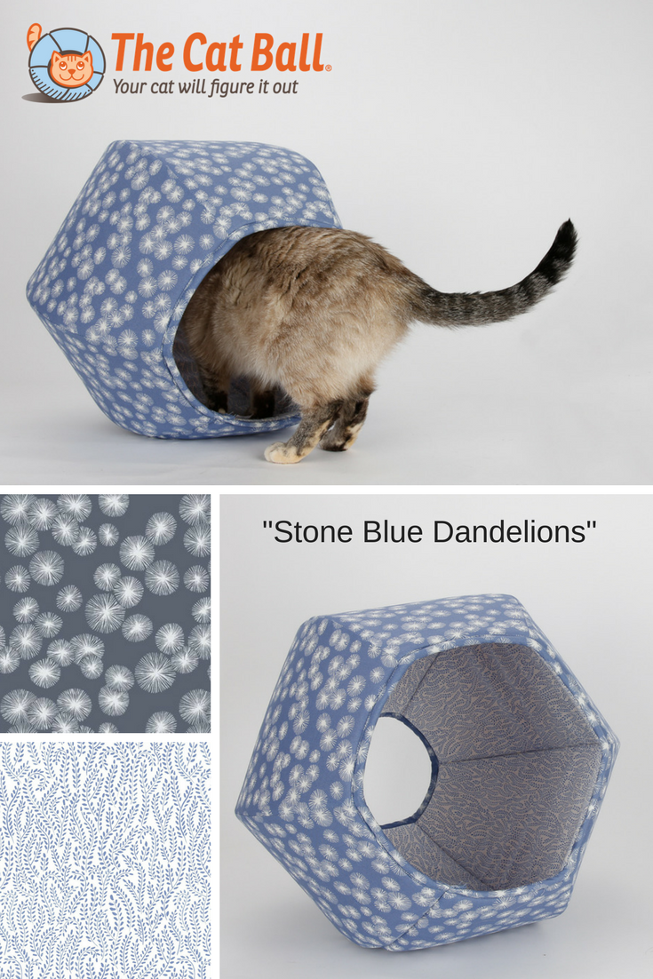 The Cat Ball modern cat bed in stone blue dandelion print fabric. This washable cat bed is made by The Cat Ball, LLC