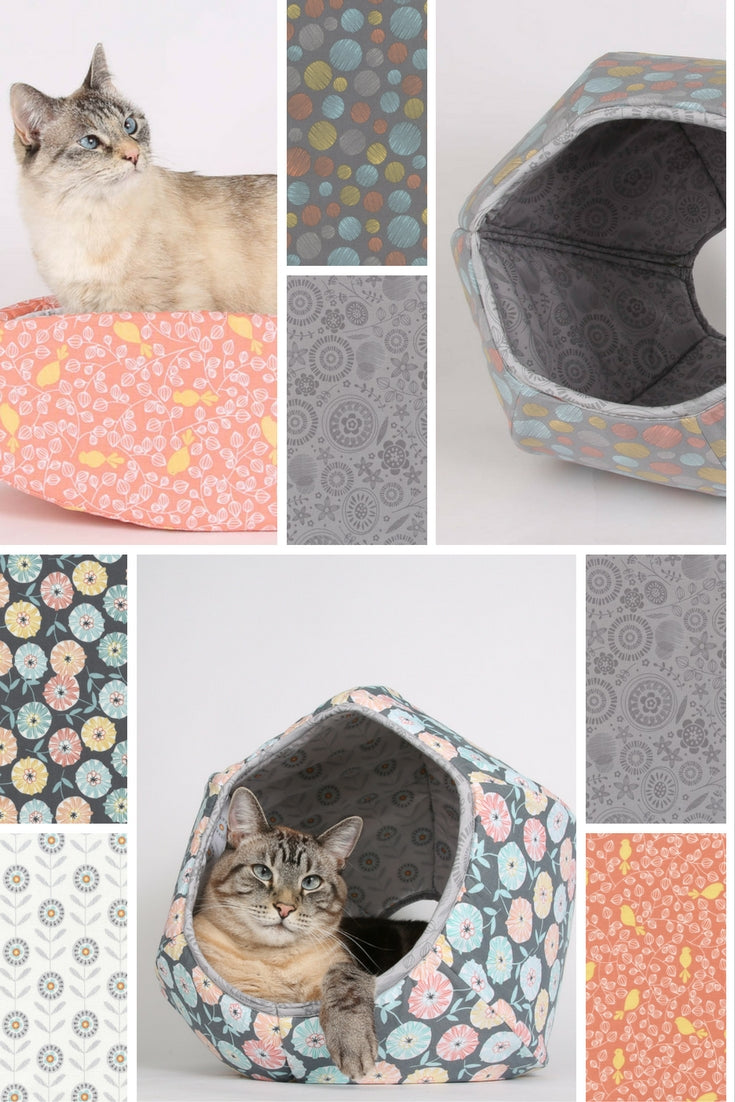 Coordinating cat beds made by The Cat Ball, LLC