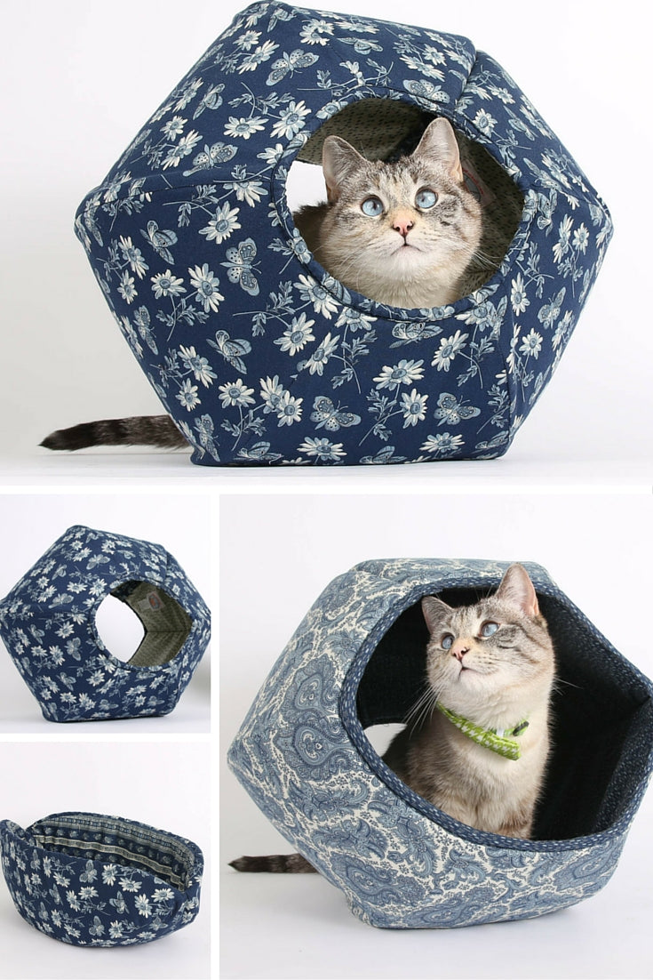 The Cat Ball and Cat Canoe are modern cat bed designs available in blue butterfly fabrics