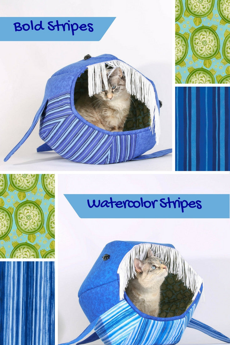 The whale Cat Ball pet bed is a novelty cat bed with fun details and made in quality cotton fabrics