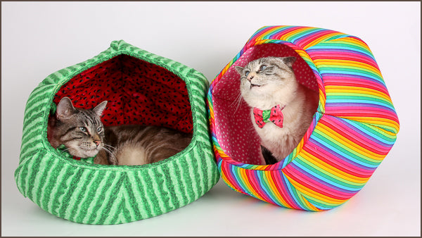 Retro and Tink are the Cat Ball cat bed models