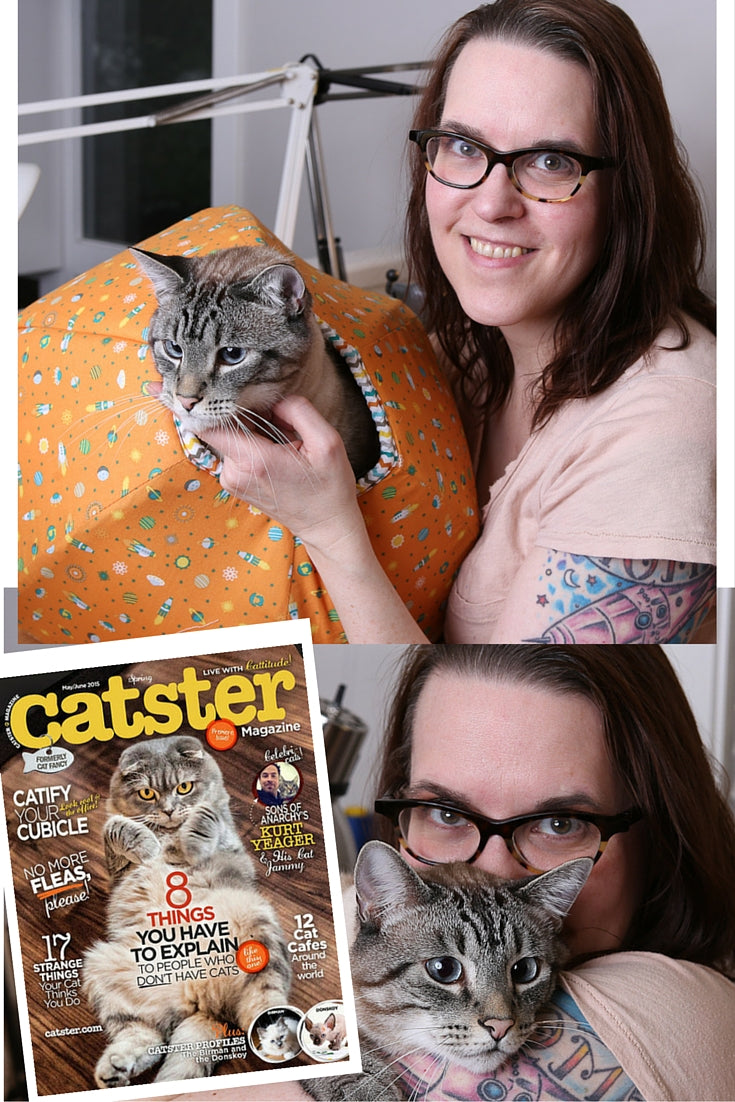 Siamese supermodel Retro joins Jennifer Schmidt, designer of the Cat Ball cat bed, in Catster magazine