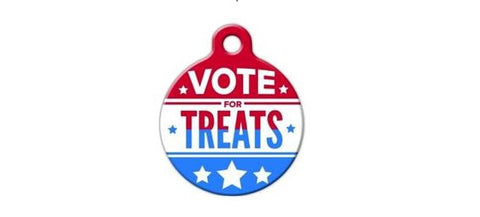 Vote For Treats pet collar tag by BlackDogEngraving on Etsy