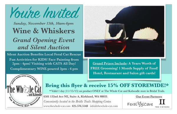 Wine and Whiskers event at The Whole Cat and Kaboodle in Kirkland, Washington