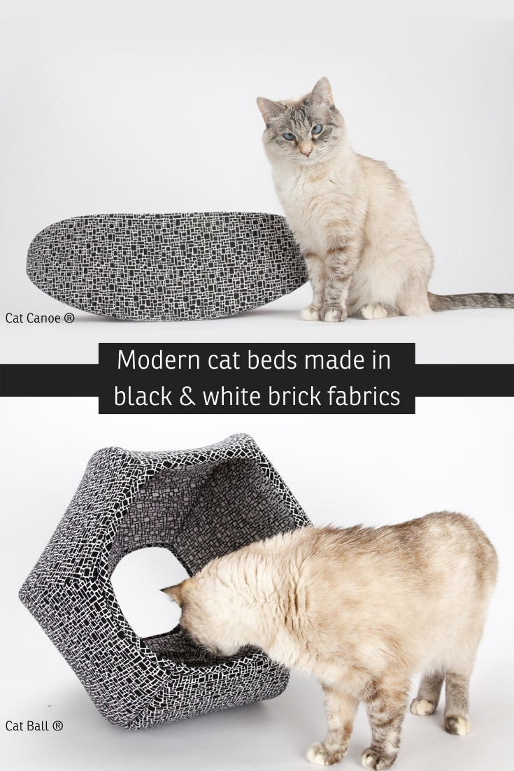 Cat Ball and Cat Canoe modern cat bed designs made in coordinating black and white cotton fabrics that look like stacked bricks.