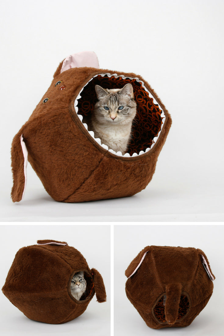 The Cat Ball LLC has created a novelty design hairy Cat Ball bed that looks like a dog