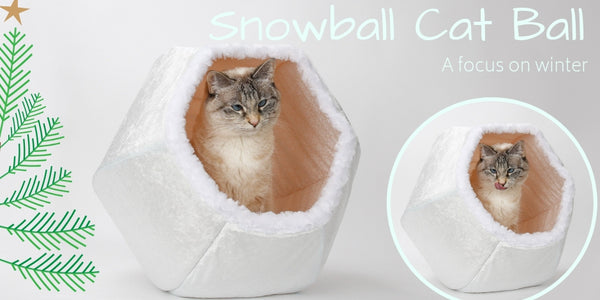 The Snowball Cat Ball is a white cat bed