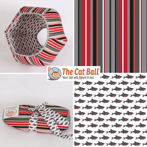 Stripes and Sharks Pirate Cat Ball Cat Bed