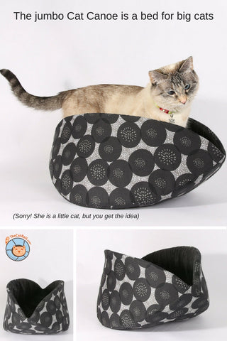 Our bed for large cats is the jumbo Cat Canoe. This modern cat bed was created for big pets, such as the Maine Coon and Norwegian Forest Cat. Made in USA