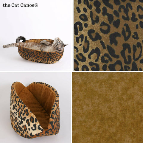 The Cat Canoe is a modern pet bed made here in a cotton leopard  print fabric