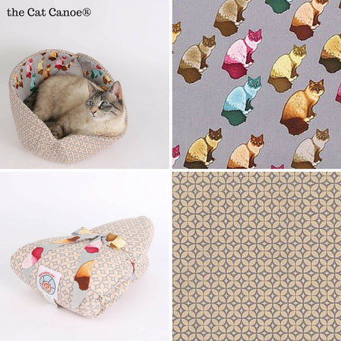 The CAT CANOE cat bed with Ragdoll cat lining fabric The CAT CANOE is the original design by The Cat Ball, LLC
