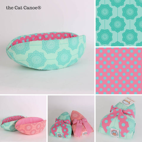Cat Canoe modern pet bed in teal and pink Cottage Wallpaper fabric
