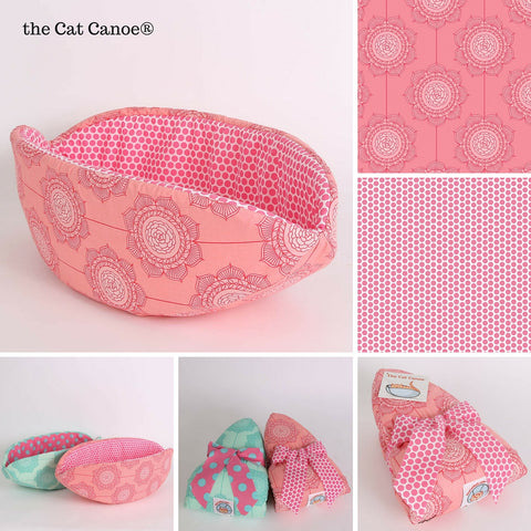 Cat Canoe modern pet bed in pink Cottage Wallpaper fabric