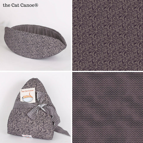 The Cat Canoe made in a purple paisley fabric