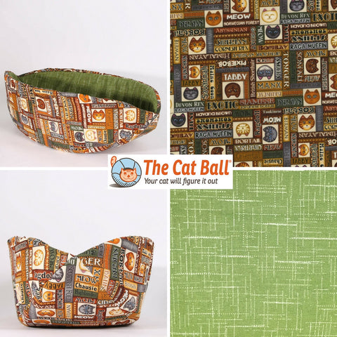 Cat Canoe Modern Cat Bed in Wildcats Fabric with Avocado Green Lining