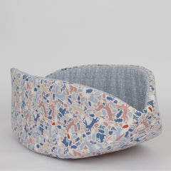 The Cat Canoe modern cat bed, made in woodlands animal fabric