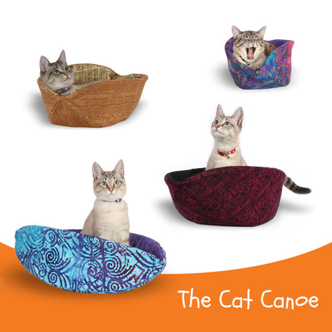 The CAT CANOE designer cat bed is made by The Cat Ball, LLC